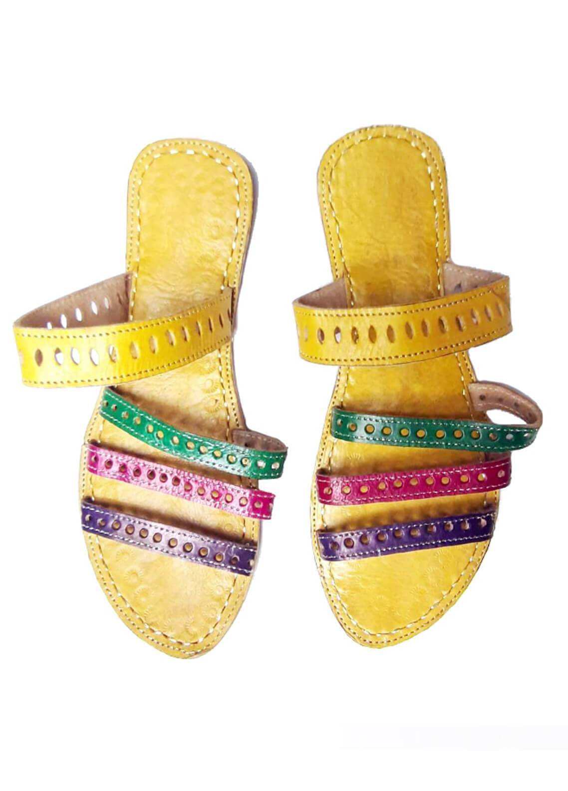 Silk Avenue Kolapuri Style Leather Flat Shoes SAF05-Multicolor