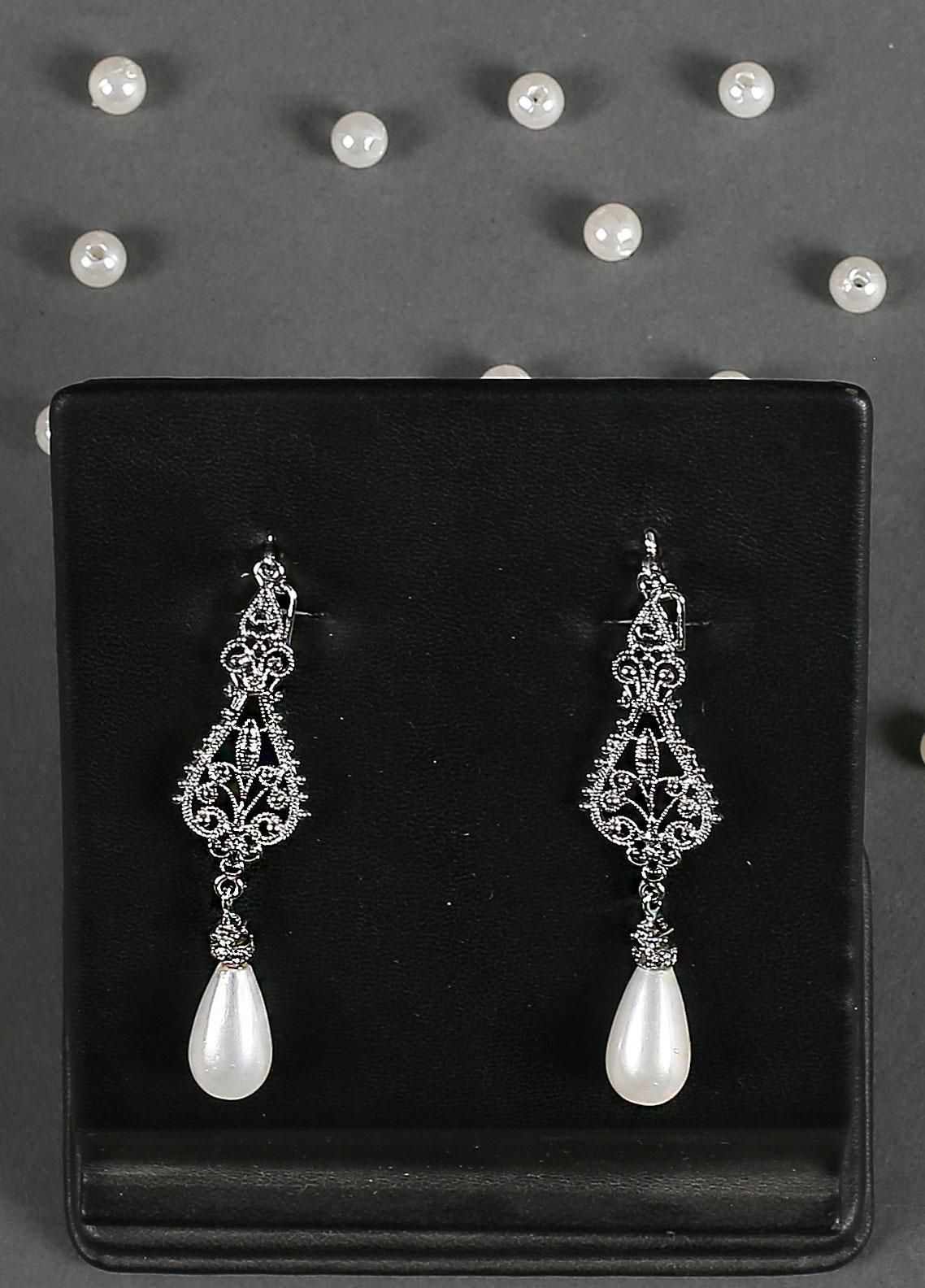 Silver Lodge Filigree  Pearl Drop Earrings 1105 - Ladies Jewellery