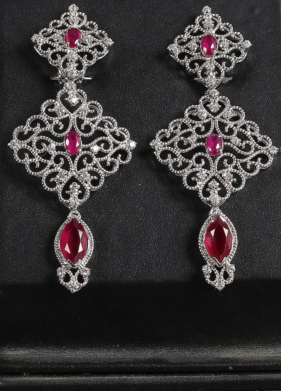 Silver Lodge Ruby & Zircon  Twisted Wire Earrings 1103 - Ladies Jewellery