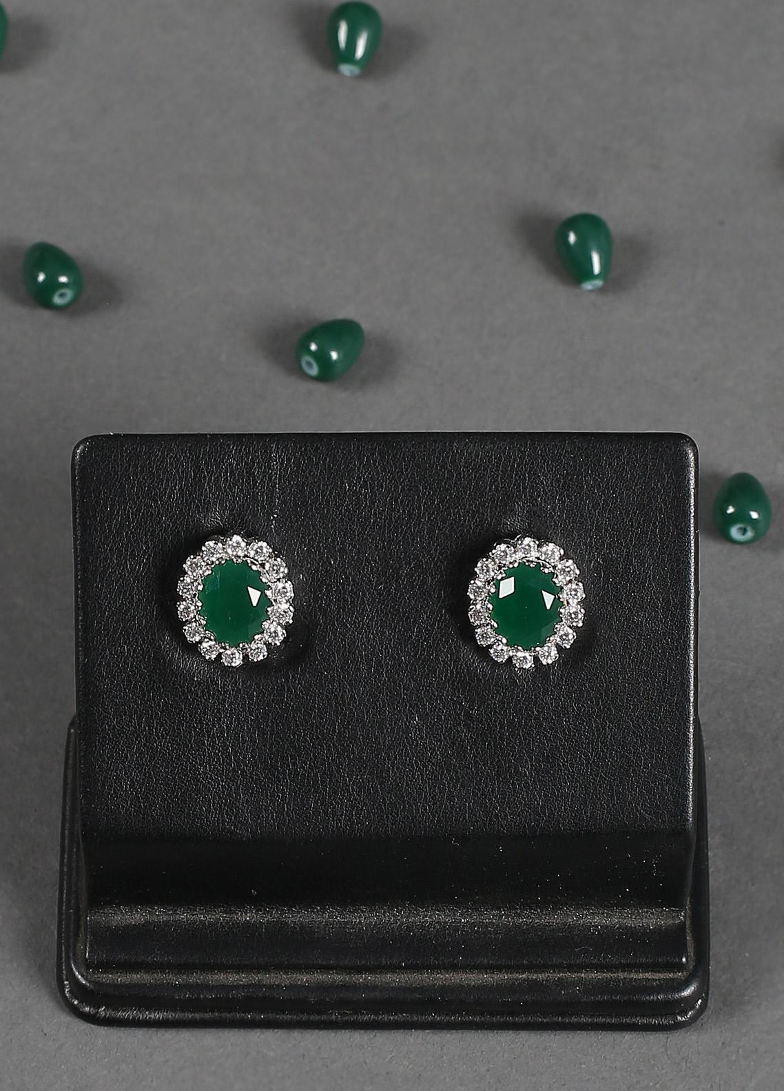 Silver Lodge Emerald  Quartz N Zircon Tops 1202 - Ladies Jewellery