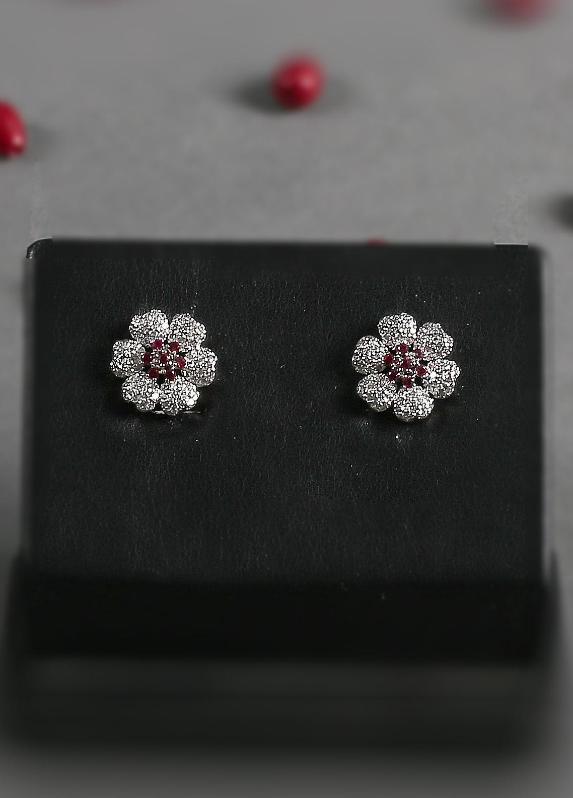 Silver Lodge Zircon and Ruby  Quartz Flower Tops 1203 - Ladies Jewellery