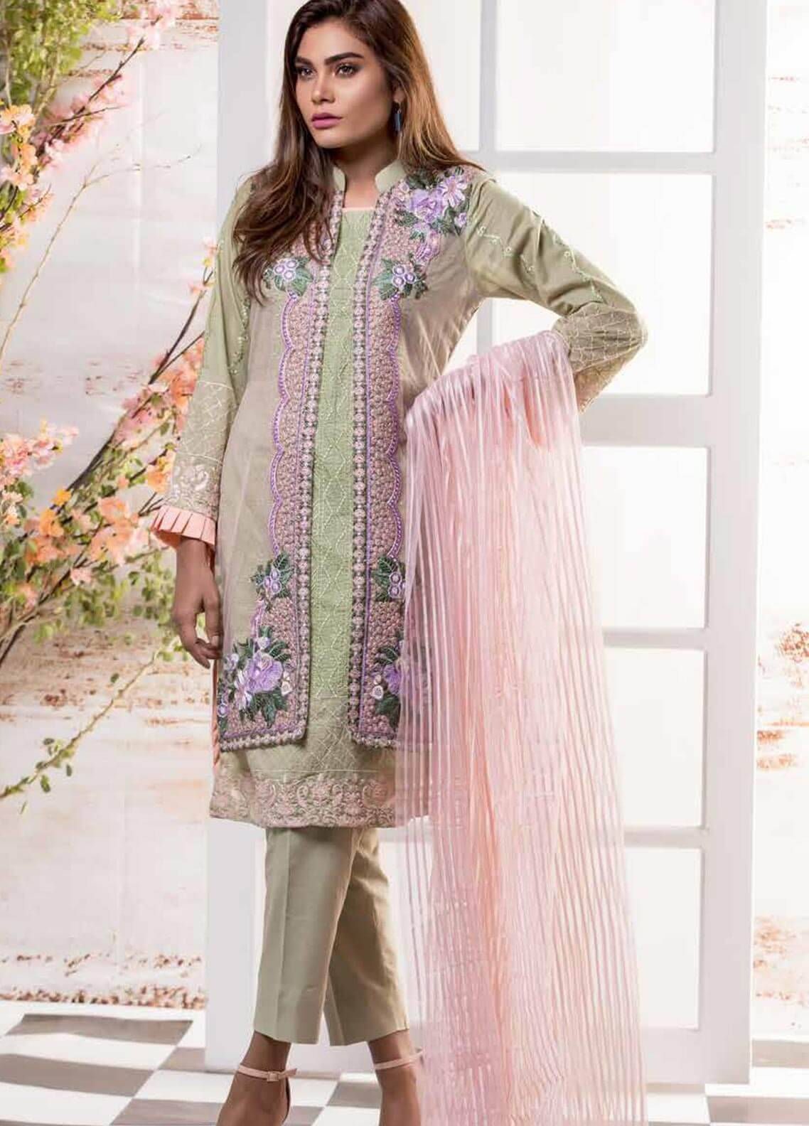 2bc3f6a9b8 Sahil By ZS Textiles Embroidered Lawn Unstitched 3 Piece Suit SL18-L7 09 - Mid  Summer Collection