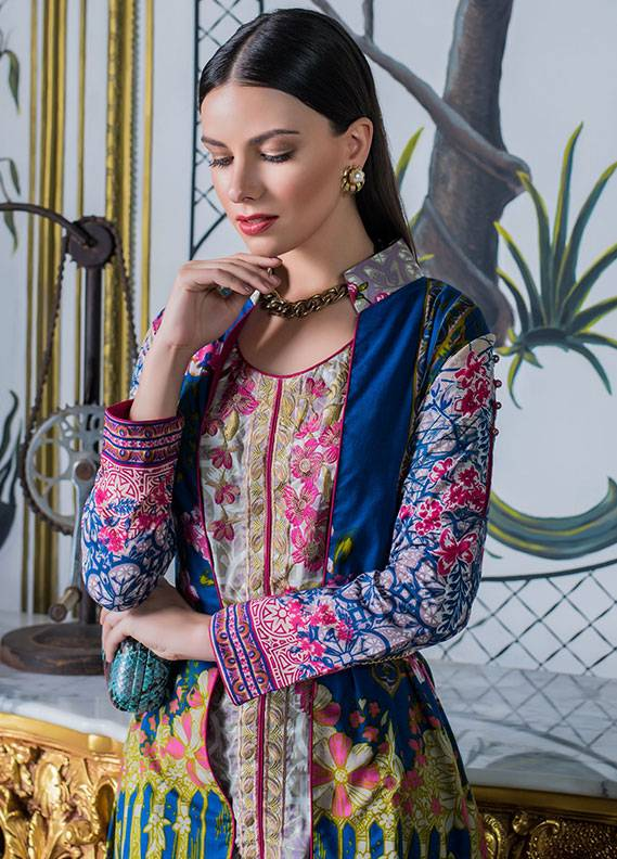 Summerina By LSM Embroidered Lawn Unstitched 3 Piece Suit SMR18L 1B - Spring / Summer Collection
