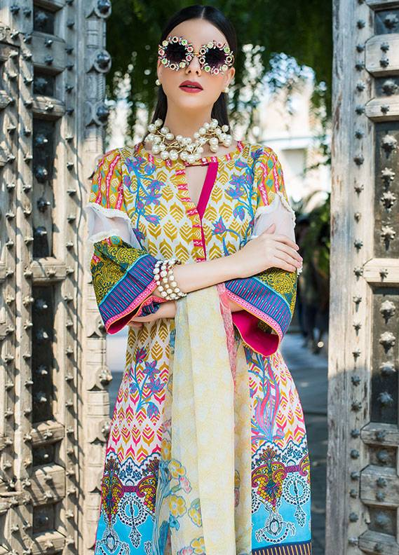 Summerina By LSM Embroidered Lawn Unstitched 3 Piece Suit SMR18L 3B - Spring / Summer Collection