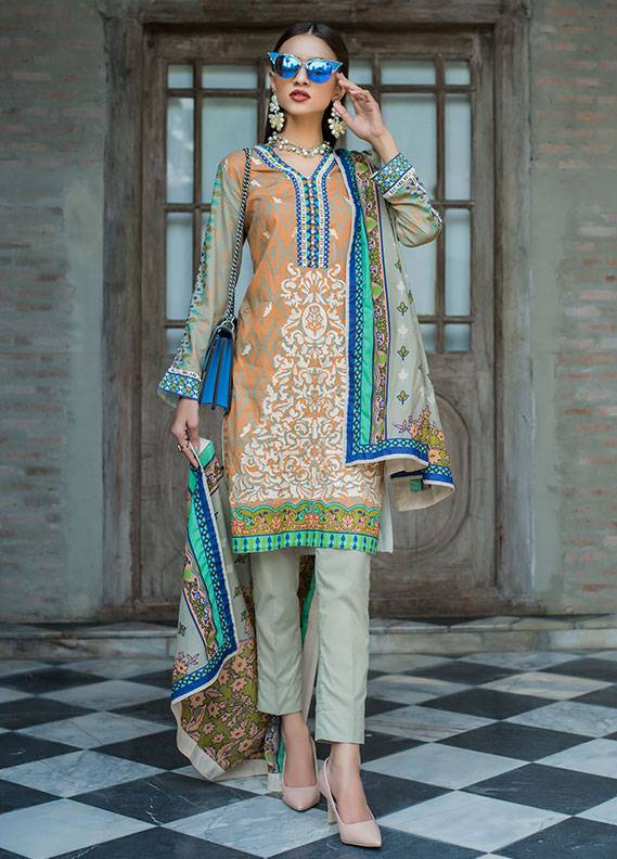 Summerina By LSM Embroidered Lawn Unstitched 3 Piece Suit SMR18L 7A - Spring / Summer Collection