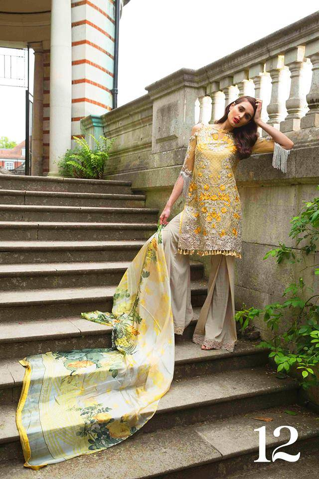 Sobia Nazir Embroidered Chiffon Unstitched 3 Piece Suit SN17E 12