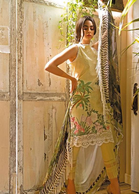 Sobia Nazir Embroidered Lawn Unstitched 3 Piece Suit SN18L 10A - Spring / Summer Collection