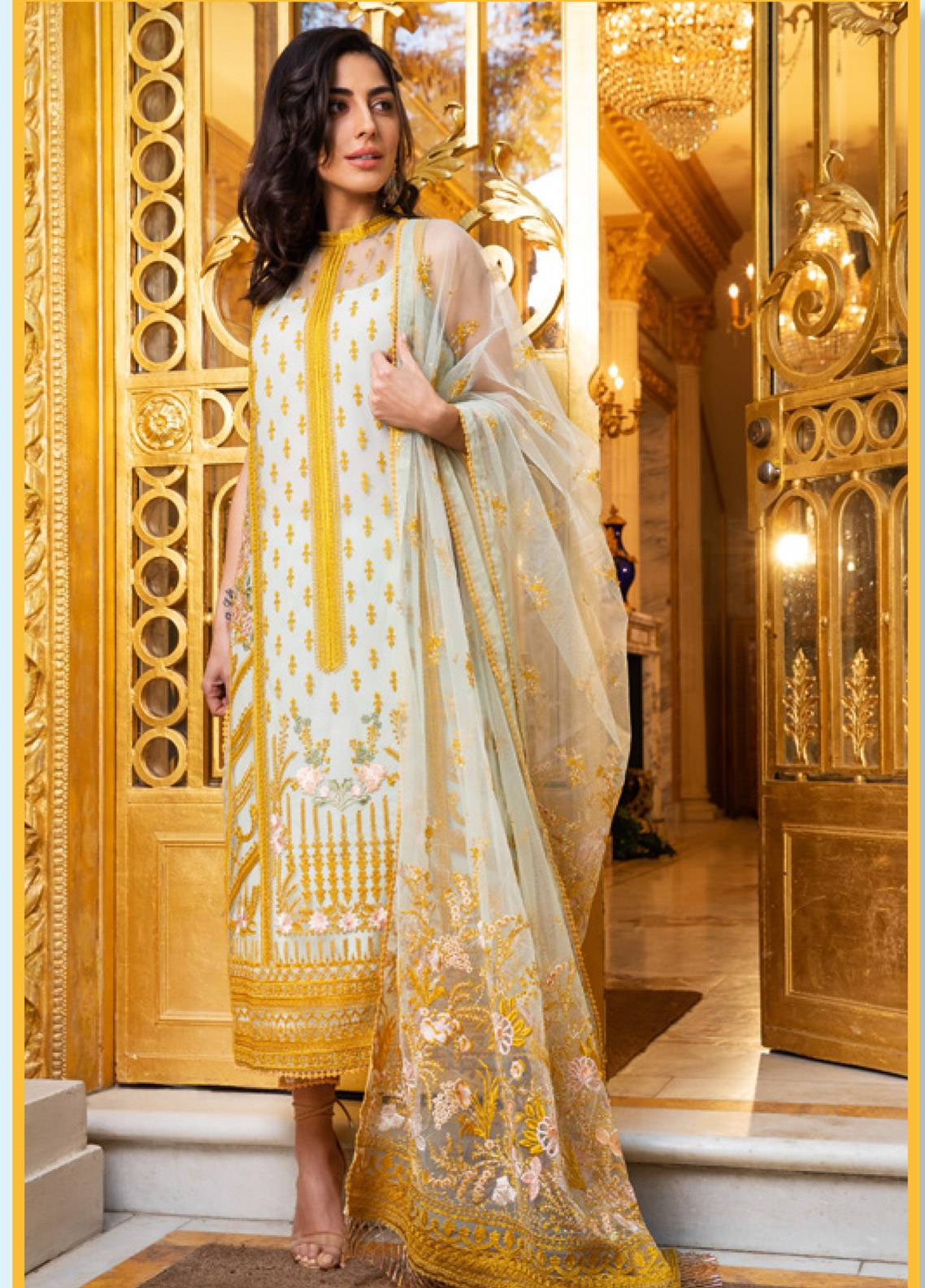 134f4c89ea Sobia Nazir Embroidered Zari Net Unstitched 3 Piece Suit SN19E 2A - Eid  Collection