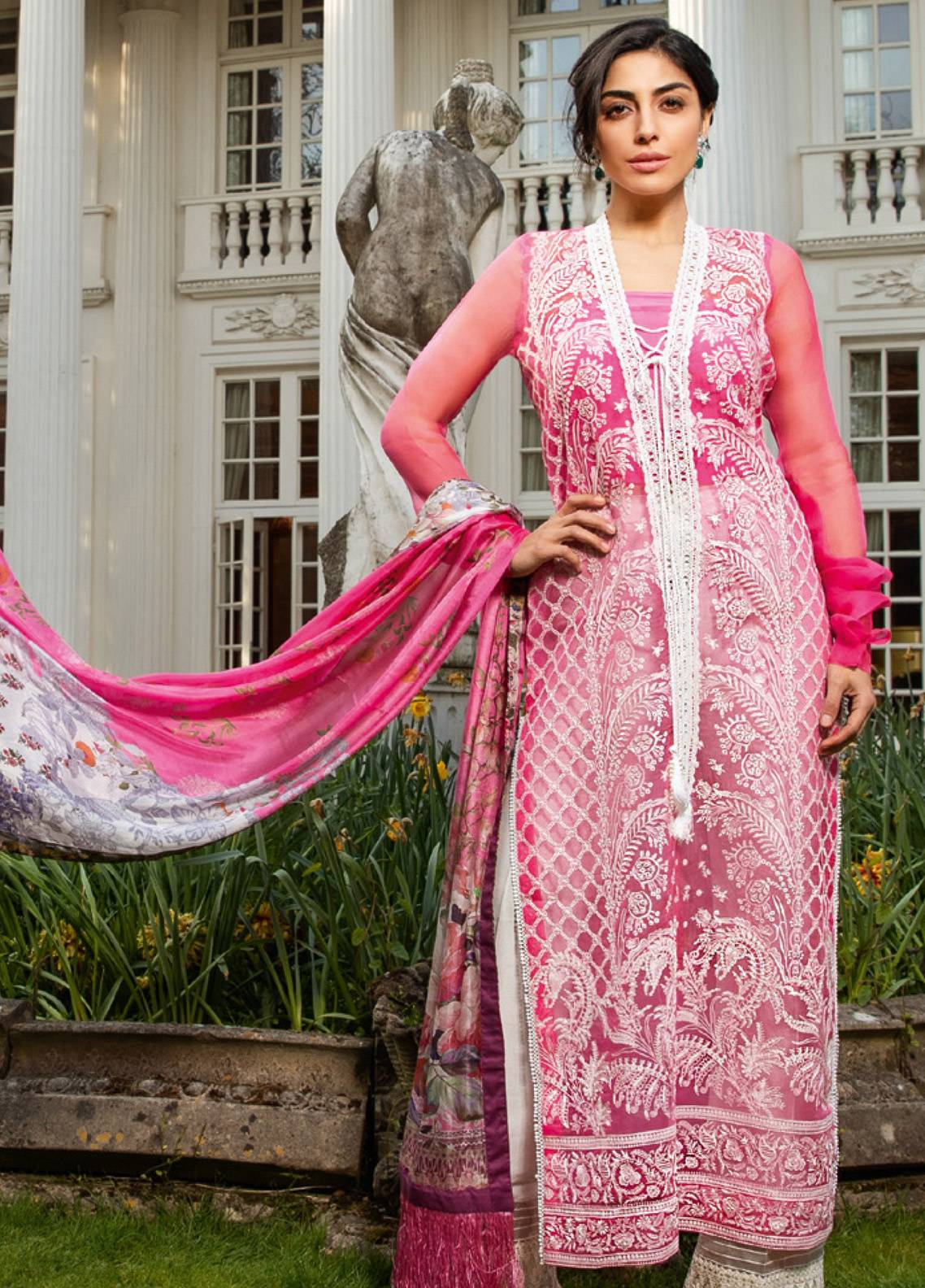 8c18dde900 Sobia Nazir Embroidered Organza Unstitched 3 Piece Suit SN19E 3A - Eid  Collection