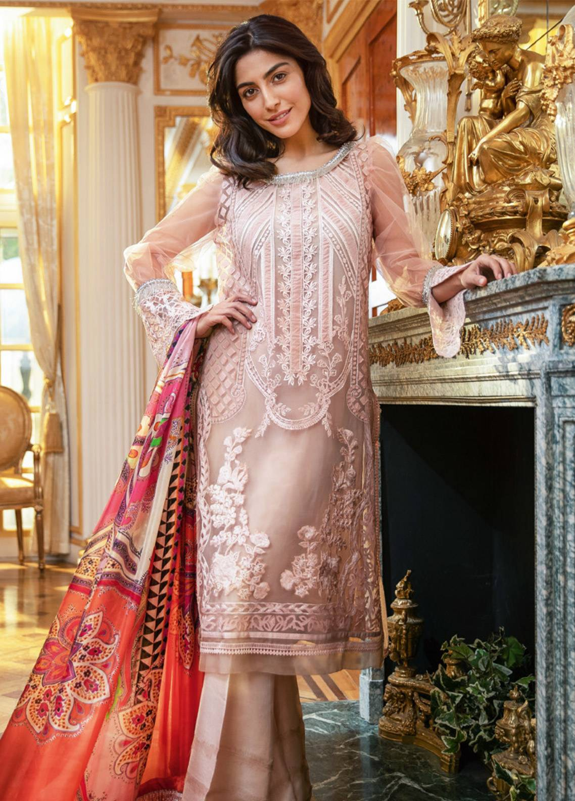 Sobia Nazir Embroidered Zari Net Unstitched 3 Piece Suit SN19E 7B - Eid Collection