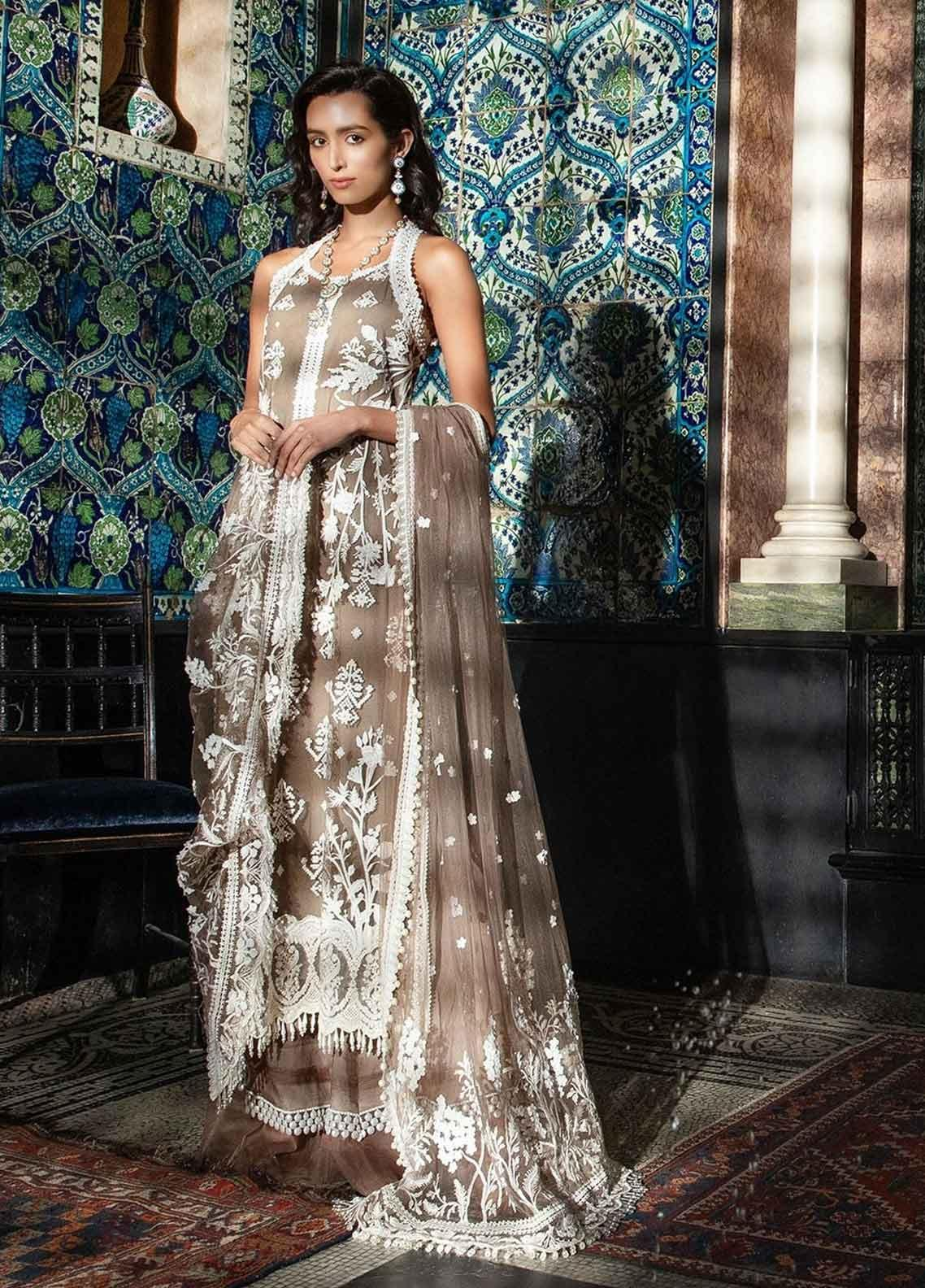 Sobia Nazir Embroidered Zari Net Unstitched 3 Piece Suit SN19-E2 7B - Festive Collection