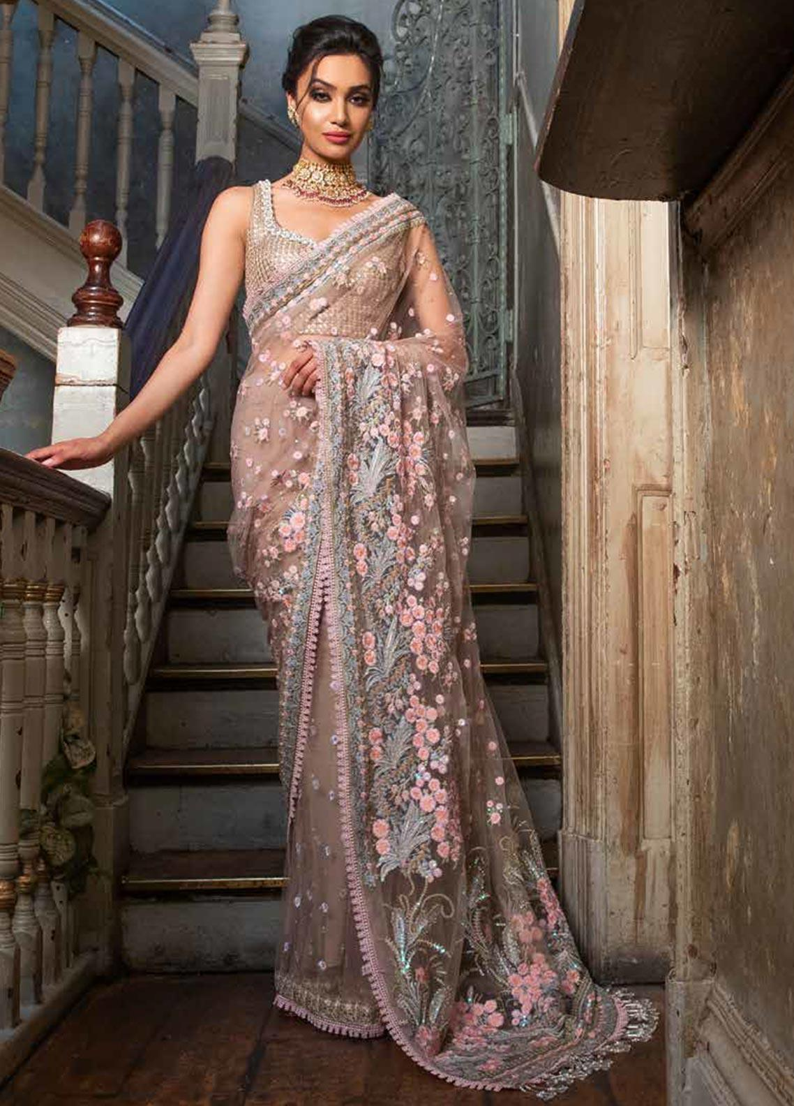 Sobia Nazir Embroidered Net Unstitched Saree SN19F 03 - Festive Collection