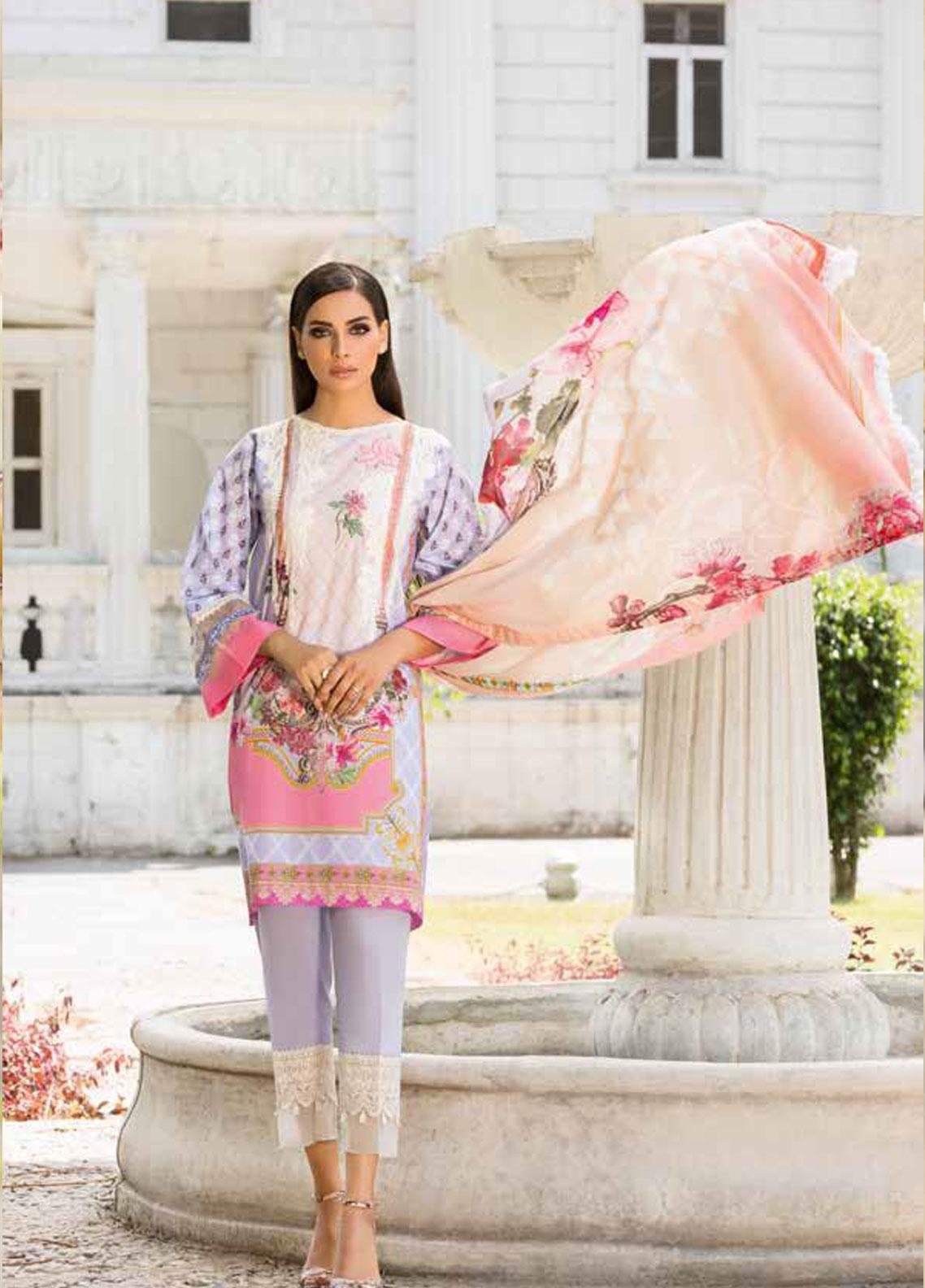 Sobia Nazir Embroidered Lawn Unstitched 3 Piece Suit SN19V 3B - Festive Collection