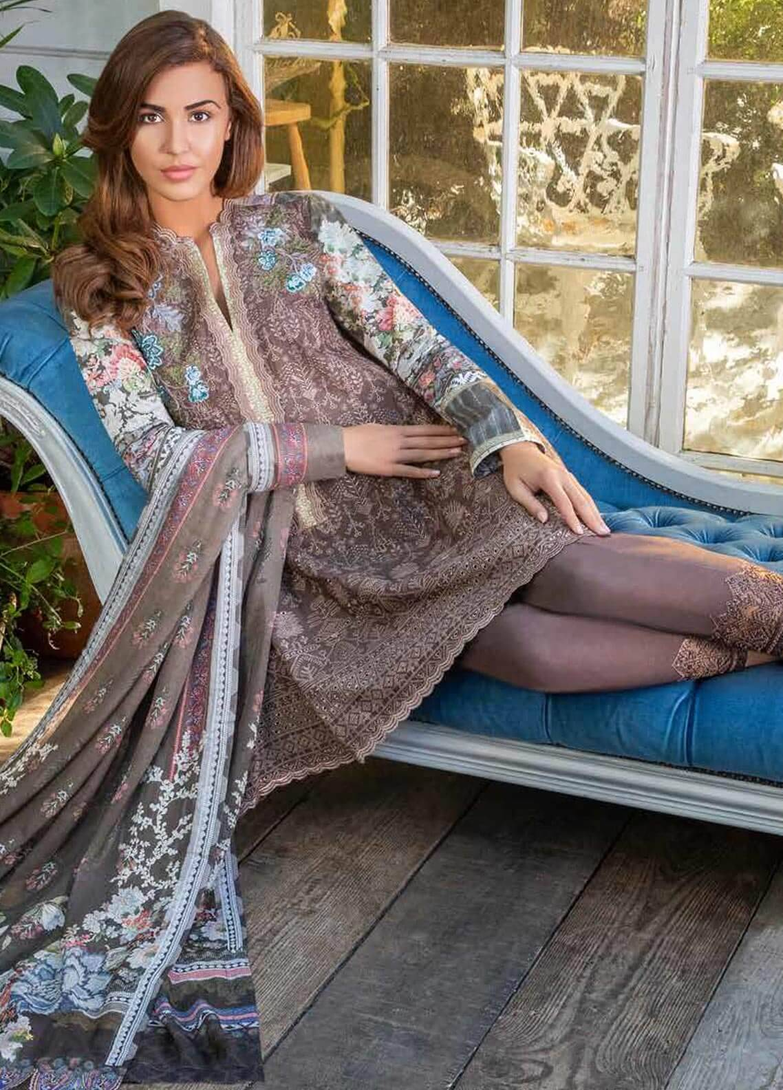 Sobia Nazir Embroidered Dobby Unstitched 3 Piece Suit SN18W 3A - Winter Collection
