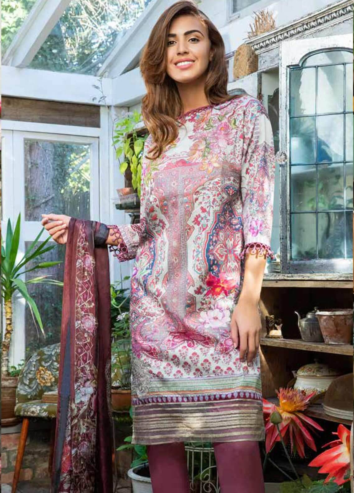 Sobia Nazir Embroidered Dobby Unstitched 3 Piece Suit SN18W 6B - Winter Collection
