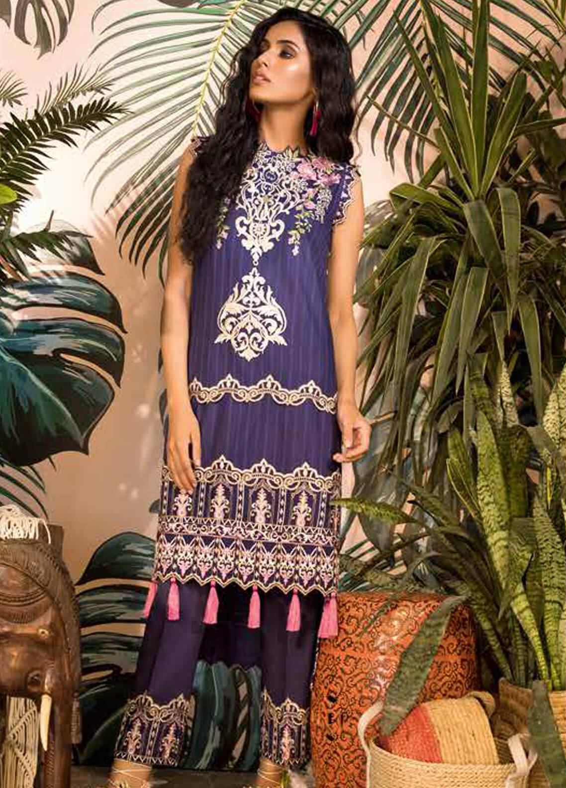 Sapphire Embroidered Cotton Unstitched 2 Piece Suit Bagh B - Autumn - Fall Collection