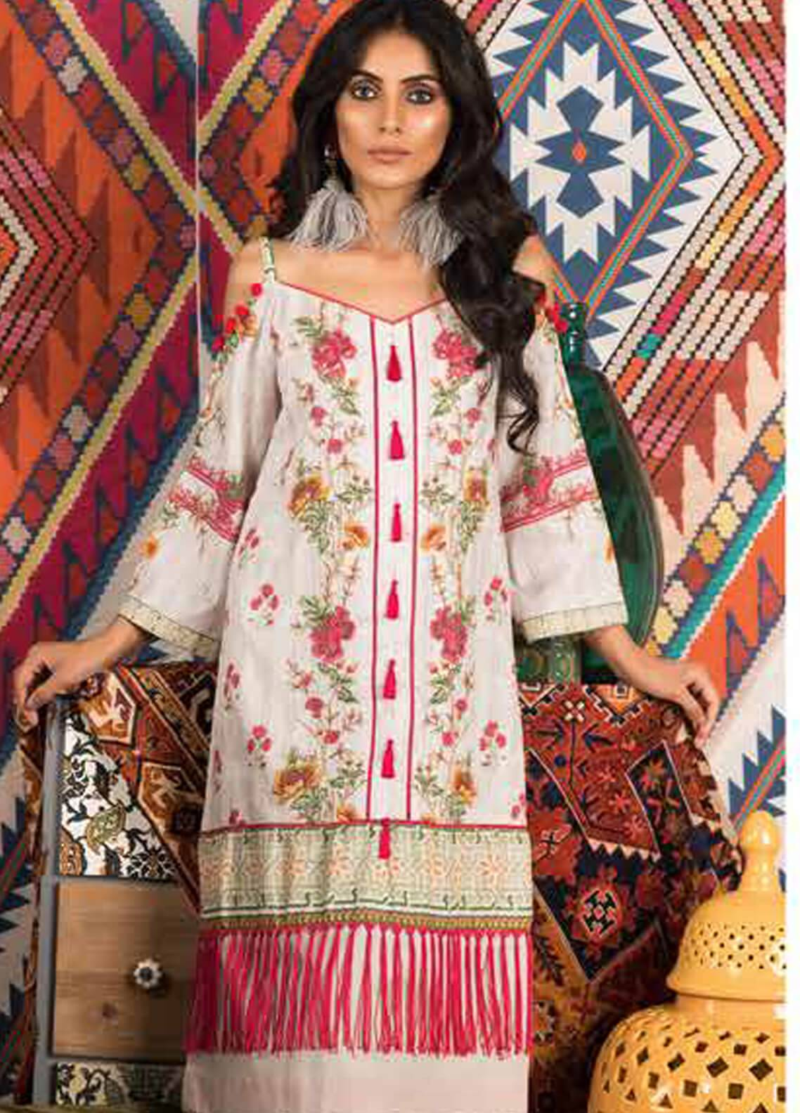 Sapphire Printed Cotton Unstitched 2 Piece Suit Delicate B - Autumn - Fall Collection