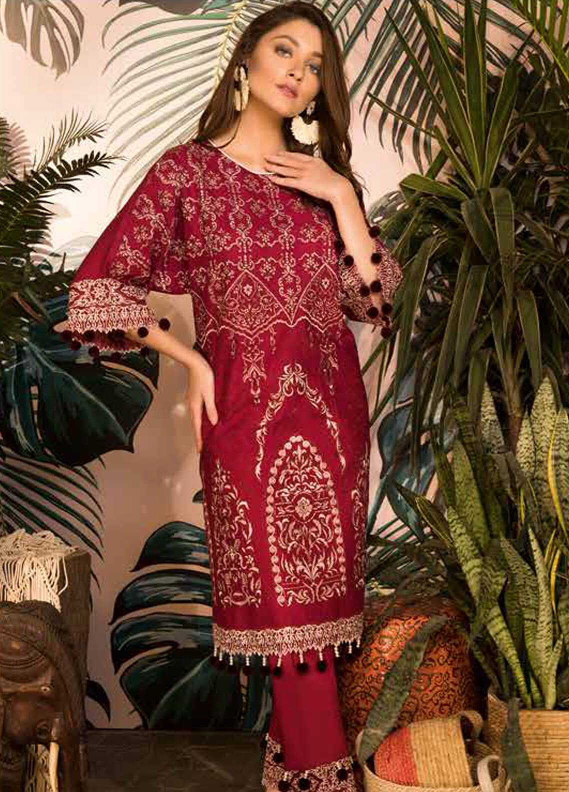 Sapphire Embroidered Cotton Unstitched 2 Piece Suit Desert Rose A - Autumn - Fall Collection