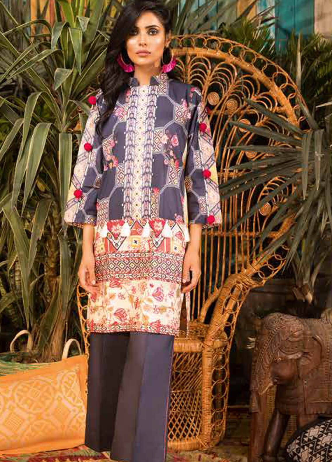 Sapphire Embroidered Cotton Unstitched Kurties Geometric Trip A - Autumn - Fall Collection
