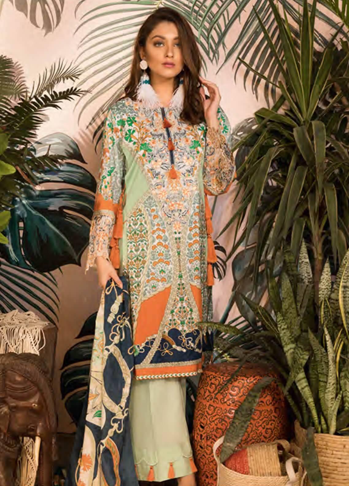 Sapphire Embroidered Cotton Unstitched 3 Piece Suit iznik Rhapsody - Autumn - Fall Collection
