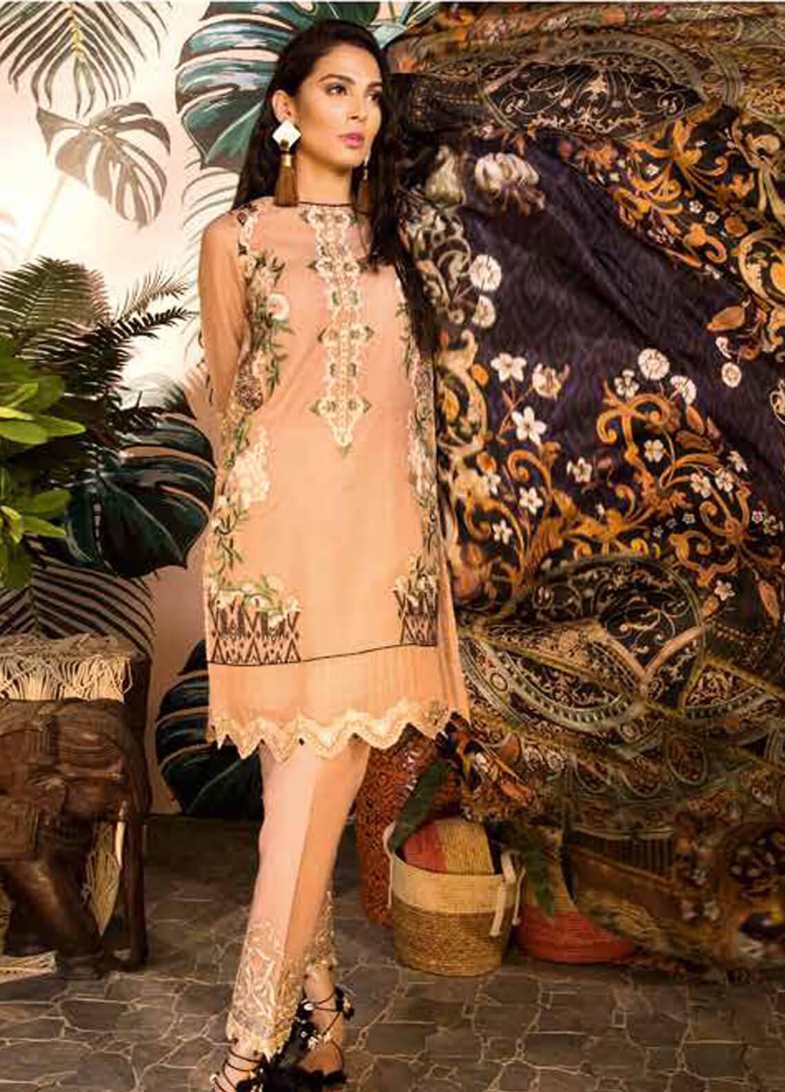 Sapphire Embroidered Messori Unstitched 3 Piece Suit Peach Cosmo - Autumn - Fall Collection