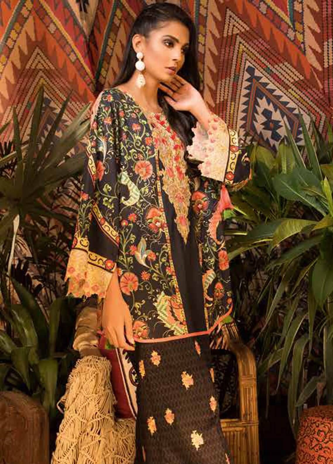 Sapphire Embroidered Cotton Unstitched 2 Piece Suit Samarqand A - Autumn - Fall Collection