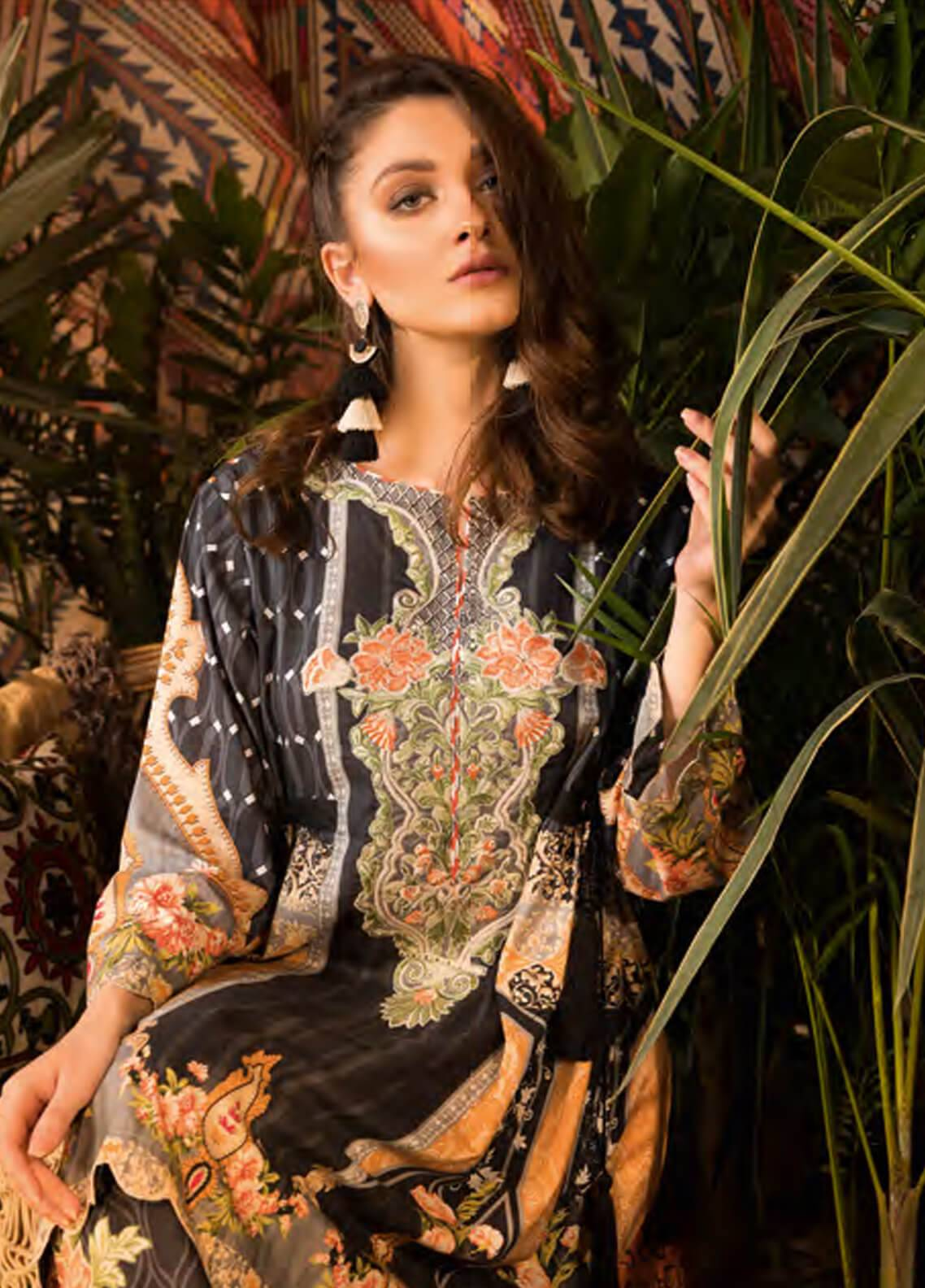 Sapphire Embroidered Cotton Unstitched 2 Piece Suit Tranquil Fantasy B - Autumn - Fall Collection