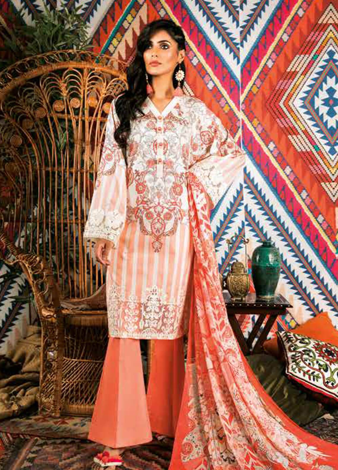 Sapphire Embroidered Cotton Unstitched 2 Piece Suit Uzbek Journey A - Autumn - Fall Collection