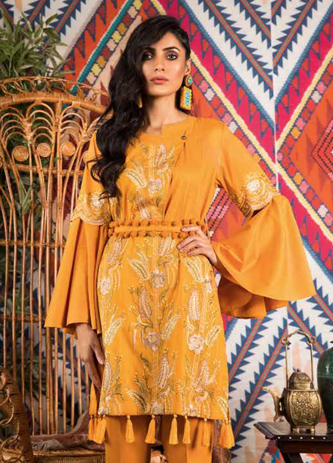 Sapphire Embroidered Cotton Unstitched Kurties Verve B - Autumn - Fall Collection