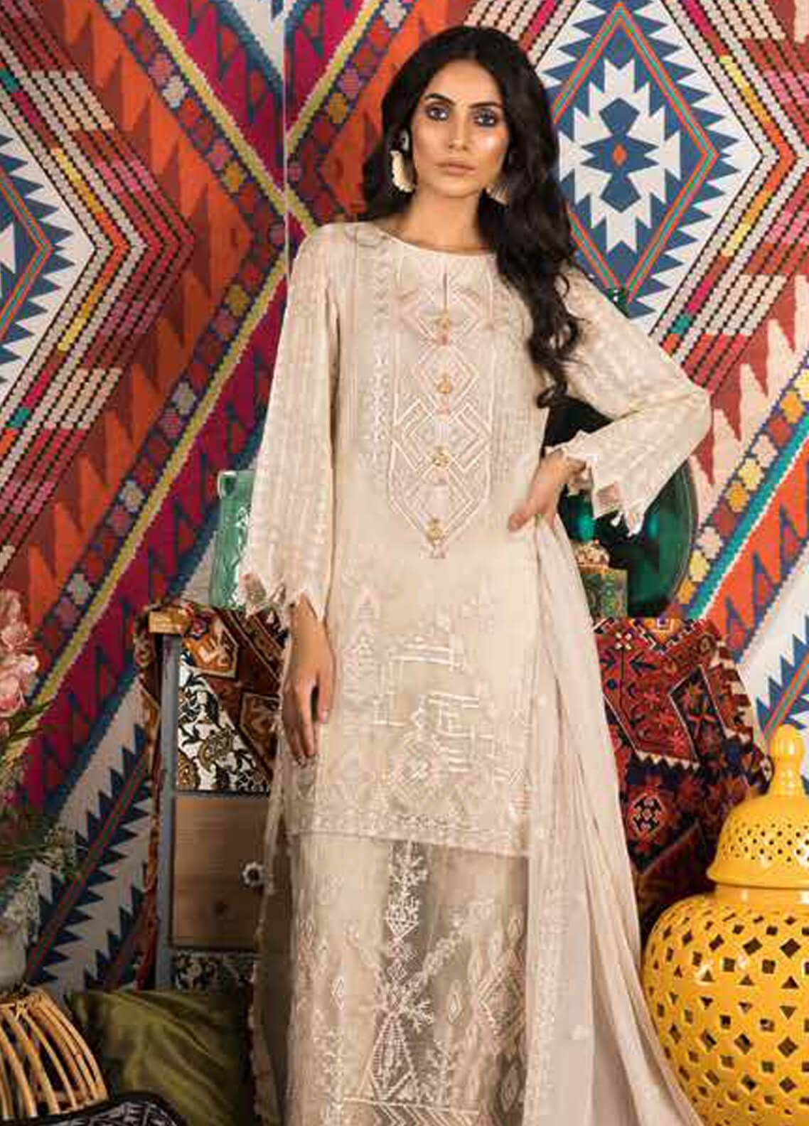 Sapphire Embroidered Khaadi Net Unstitched 3 Piece Suit Whimsical - Autumn - Fall Collection