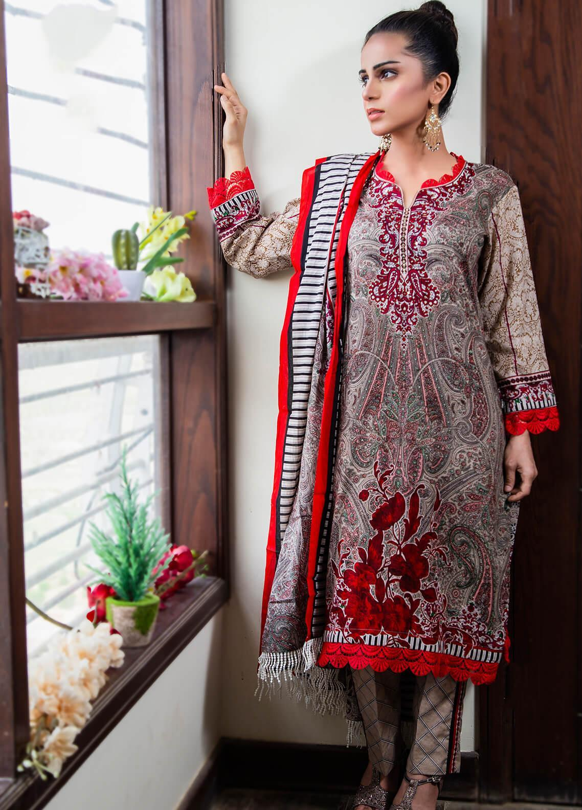 Spade Embroidered Lawn Stitched 3 Piece Suit C5GRL080719
