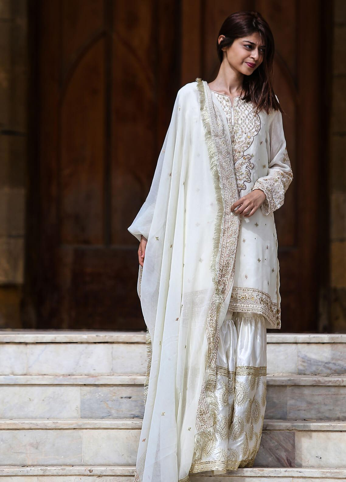 Spade Embroidered Georgette Stitched 3 Piece Suit C4OWG-0