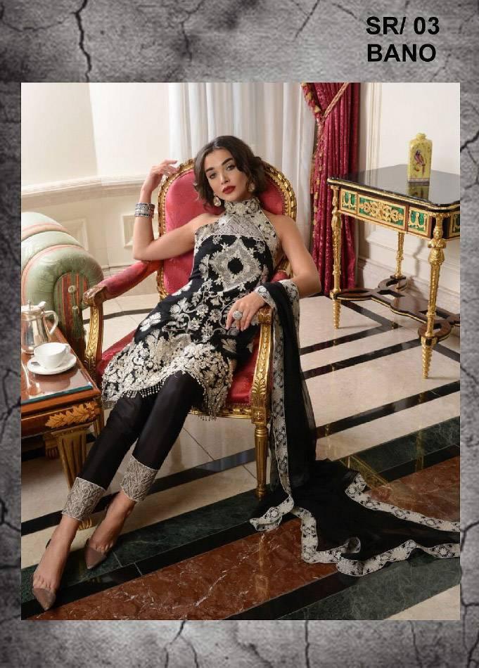 Saira Rizwan Embroidered Chiffon Unstitched 3 Piece Suit SR17E 03