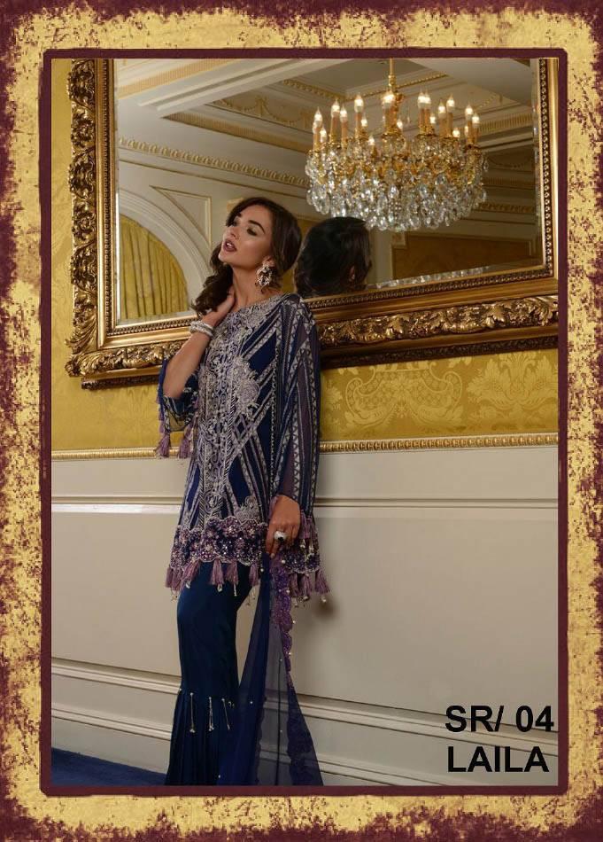 Saira Rizwan Embroidered Chiffon Unstitched 3 Piece Suit SR17E 04