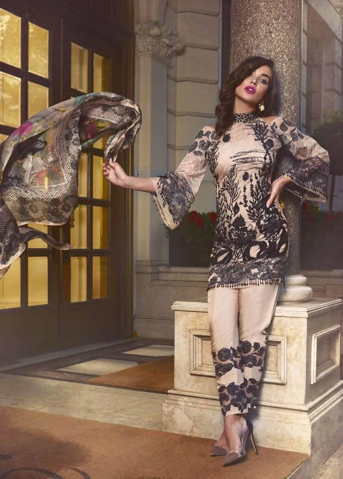 Saira Rizwan Embroidered Chiffon Unstitched 3 Piece Suit SR17E 05