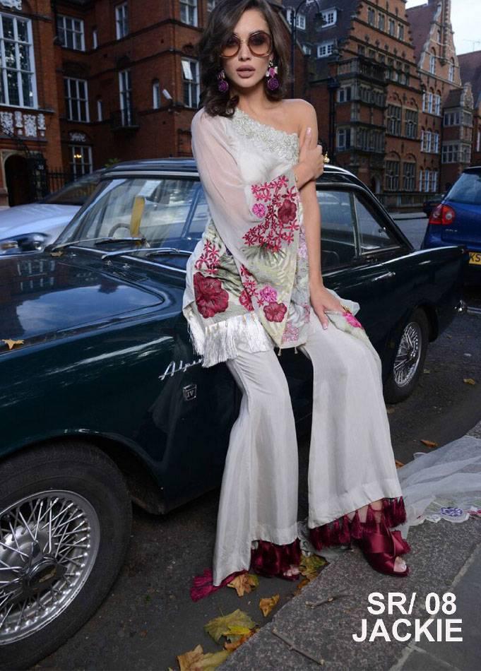 Saira Rizwan Embroidered Chiffon Unstitched 3 Piece Suit SR17E 08