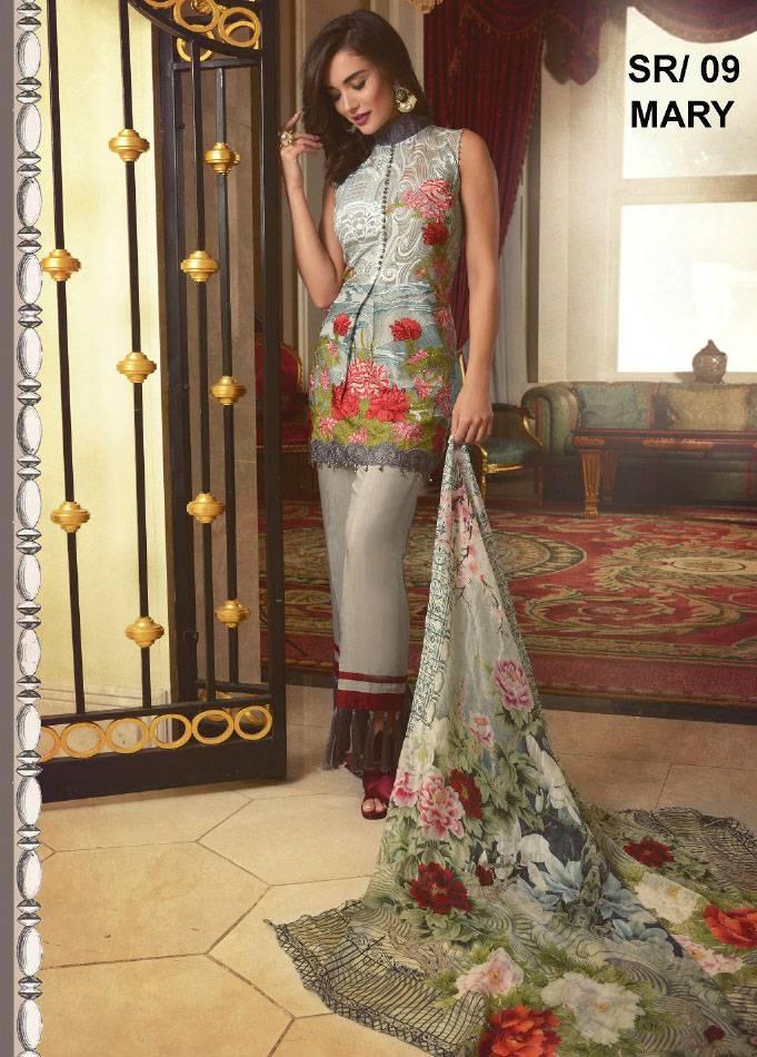 Saira Rizwan Embroidered Chiffon Unstitched 3 Piece Suit SR17E 09