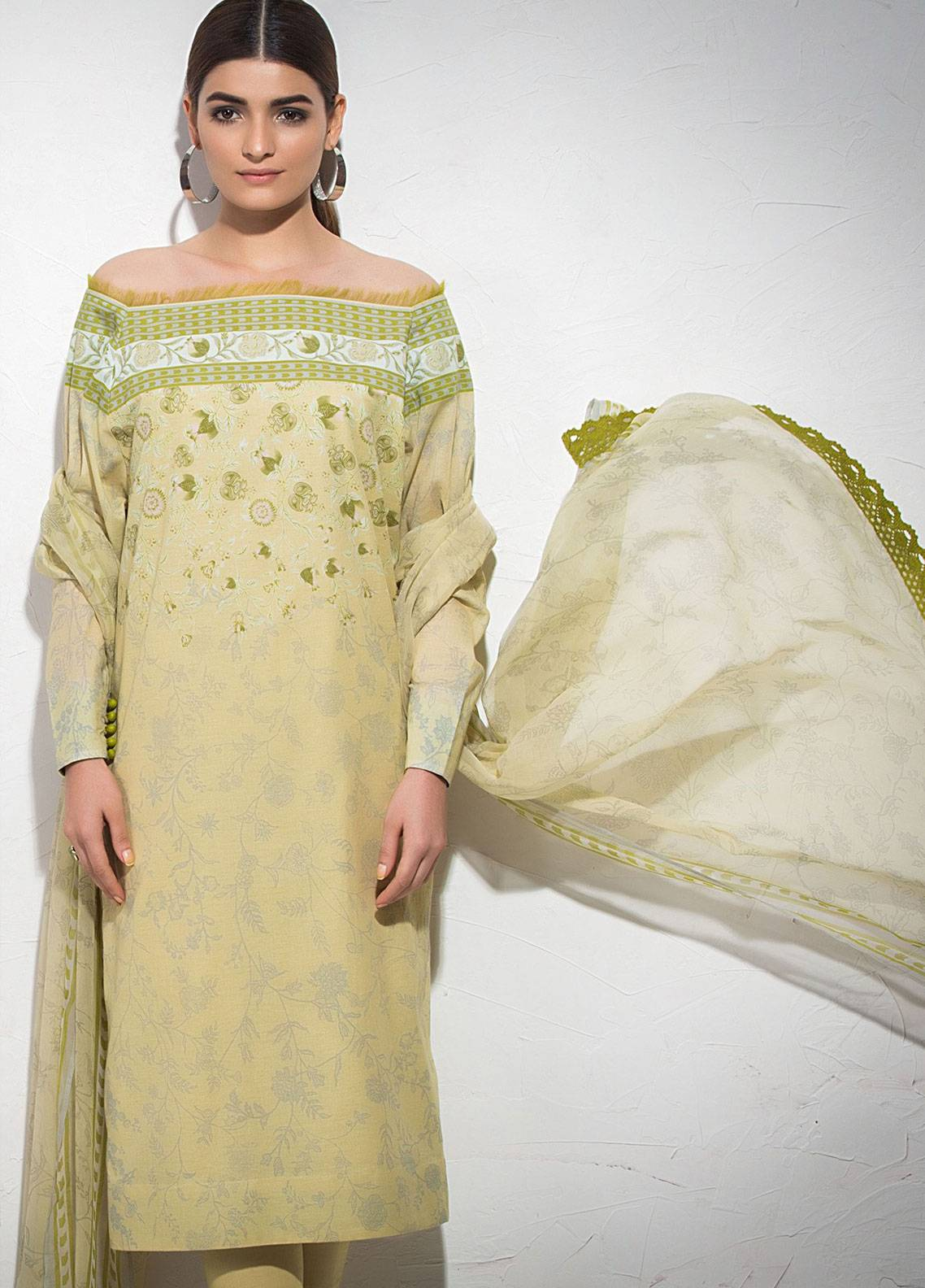 Al Karam Printed Lawn Unstitched 3 Piece Suit AK19L SS-13-19 Yellow - Spring / Summer Collection