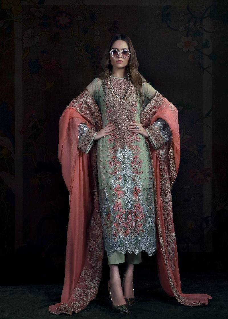 Sana Safinaz Embroidered Chiffon Unstitched 3 Piece Suit SS17L 2A