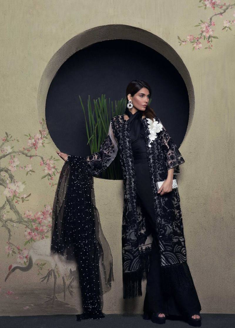 Sana Safinaz Embroidered Chiffon Unstitched 3 Piece Suit SS17L 4B