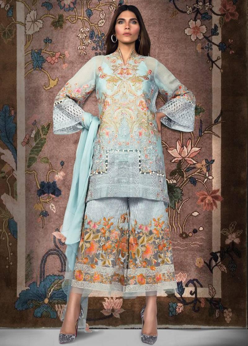 da2e3c34c5 Sana Safinaz Embroidered Chiffon Unstitched 3 Piece Suit SS17L 5B