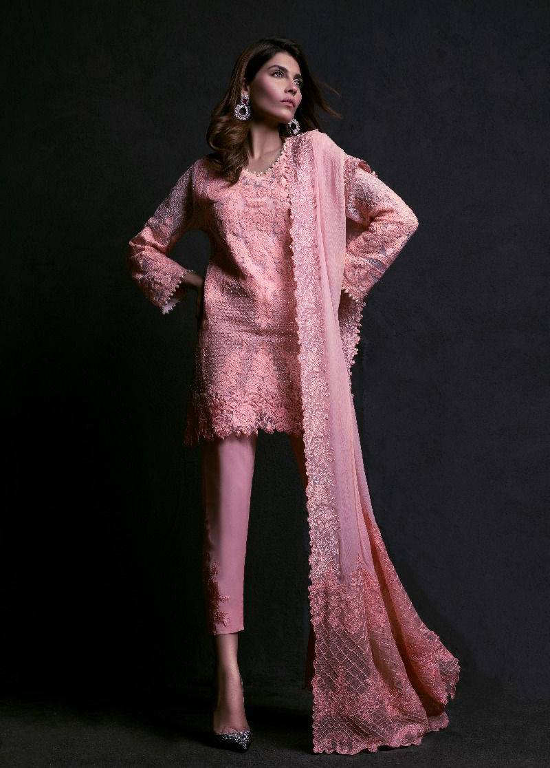 Sana Safinaz Embroidered Chiffon Unstitched 3 Piece Suit SS17L 6A