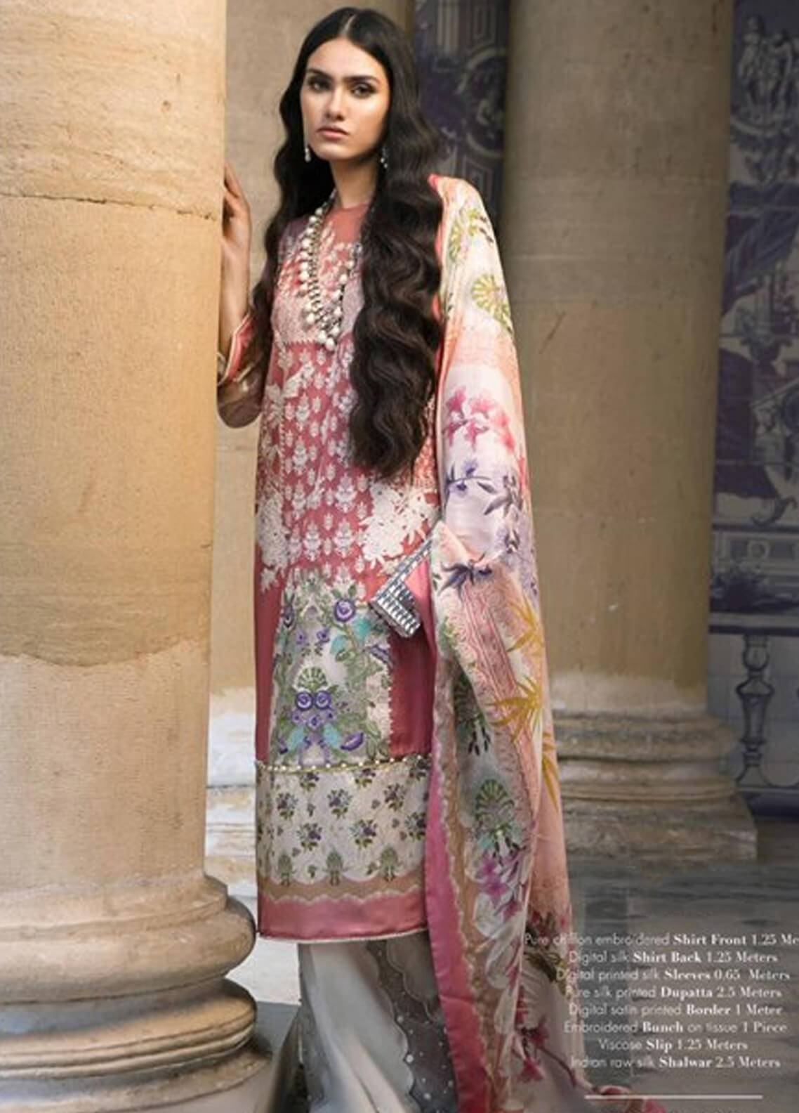 Sana Safinaz Embroidered Chiffon Unstitched 3 Piece Suit SS18C 1A - Silk Chiffon Collection