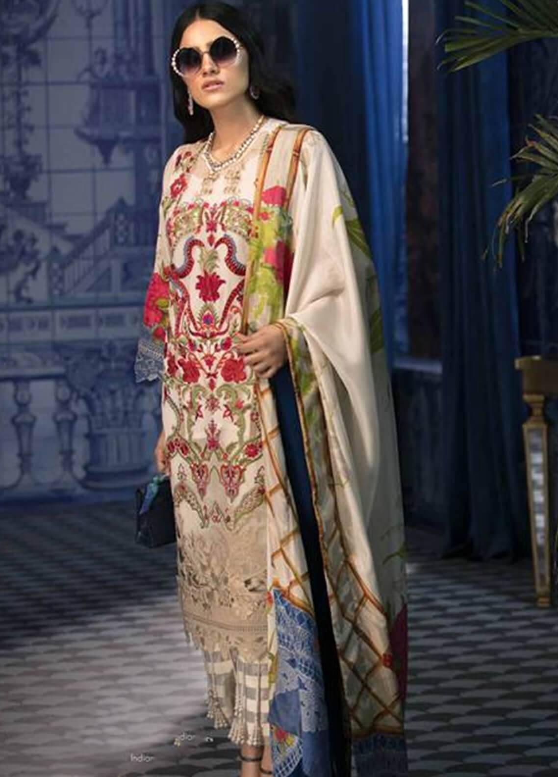 Sana Safinaz Embroidered Chiffon Unstitched 3 Piece Suit SS18C 2A - Silk Chiffon Collection