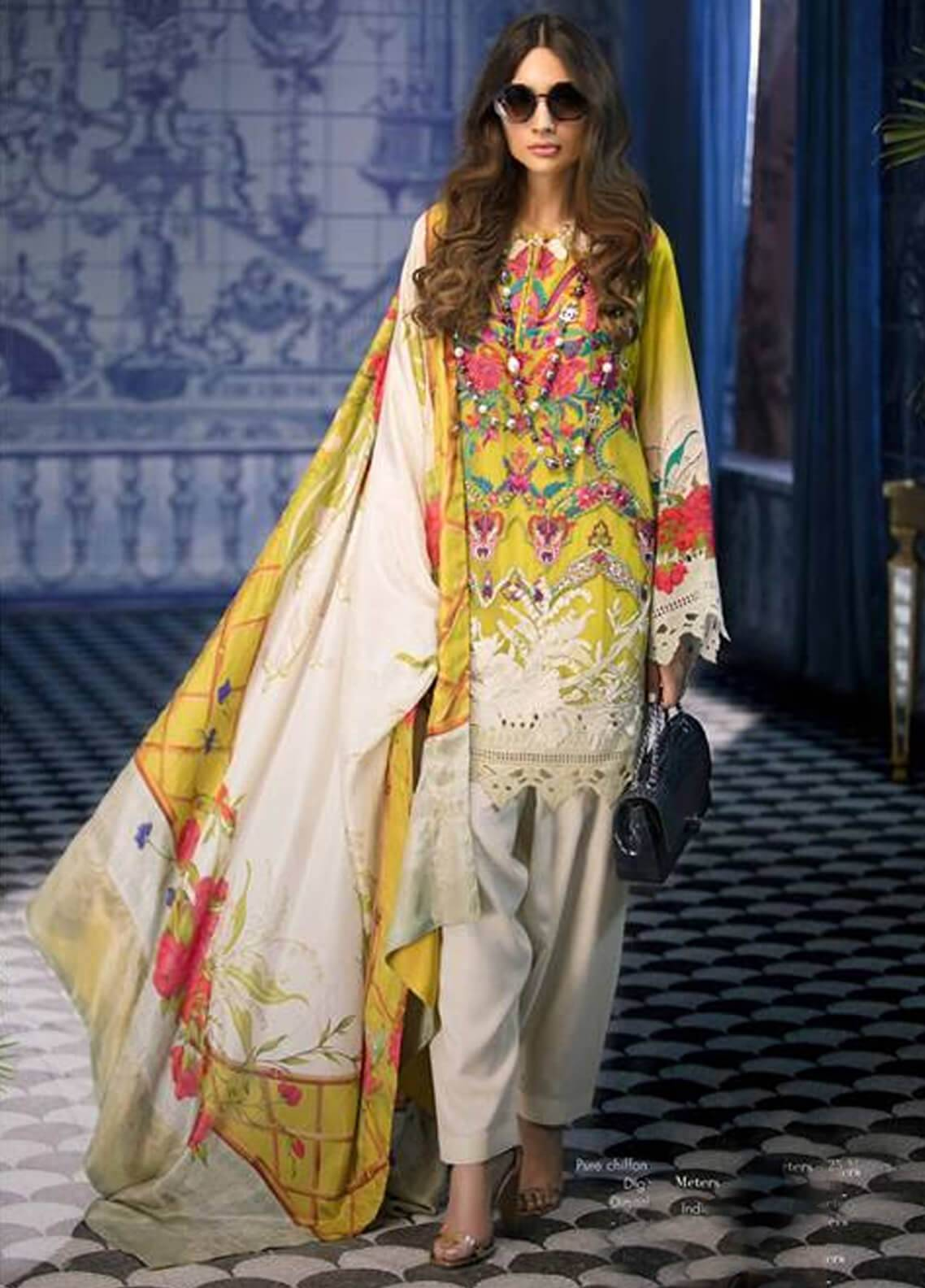 Sana Safinaz Embroidered Chiffon Unstitched 3 Piece Suit SS18C 2B - Silk Chiffon Collection