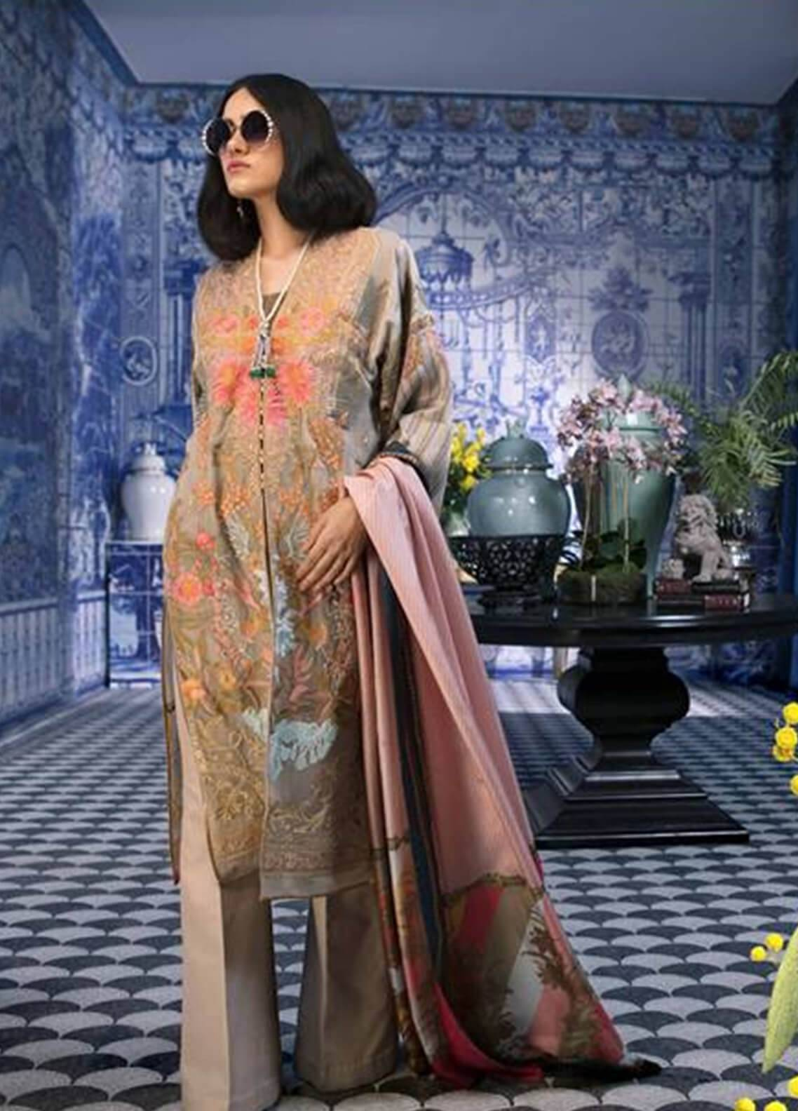 4924850ddd Sana Safinaz Embroidered Chiffon Unstitched 3 Piece Suit SS18C 4B - Silk  Chiffon Collection