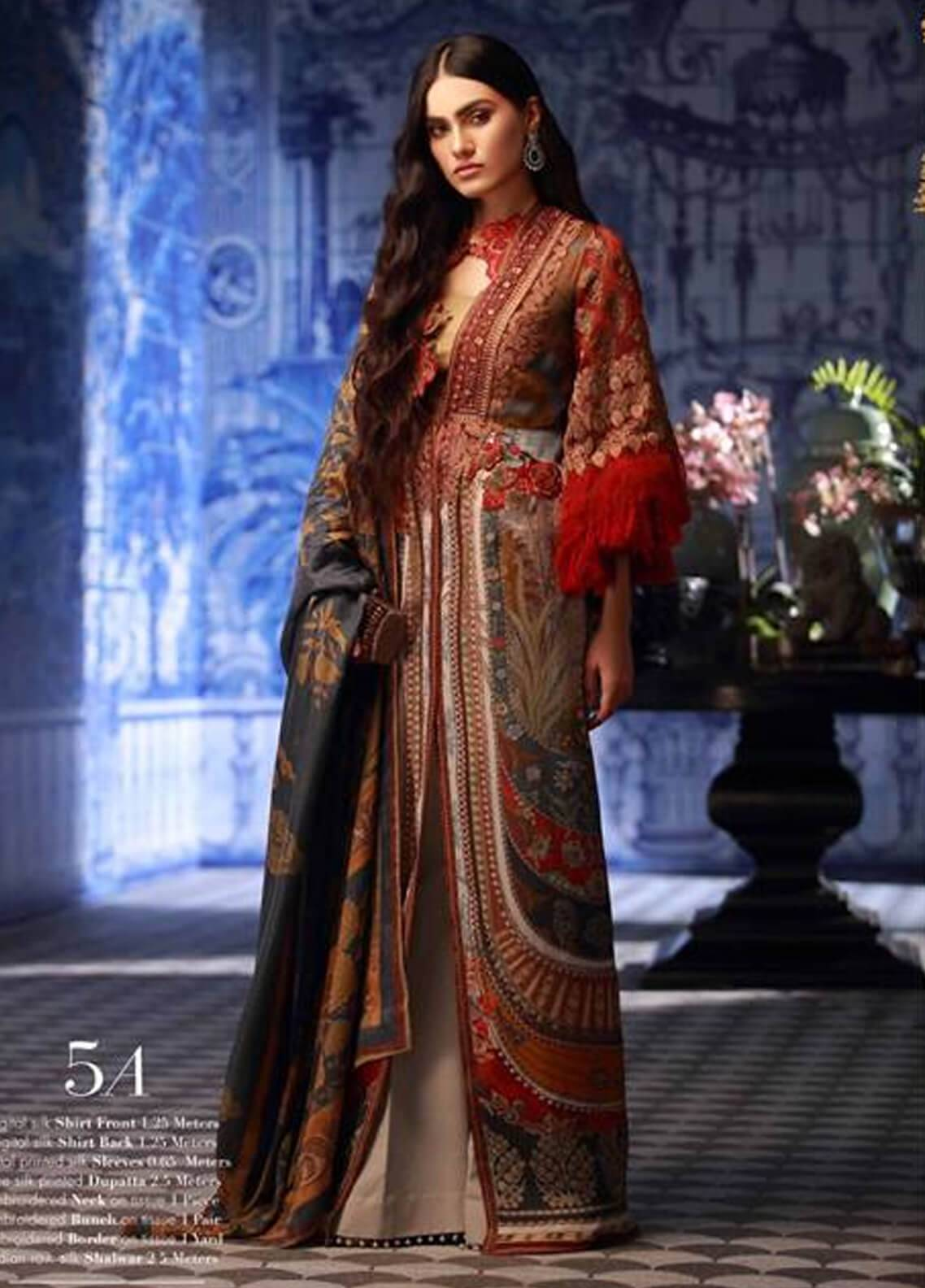 Sana Safinaz Embroidered Chiffon Unstitched 3 Piece Suit SS18C 5A - Silk Chiffon Collection
