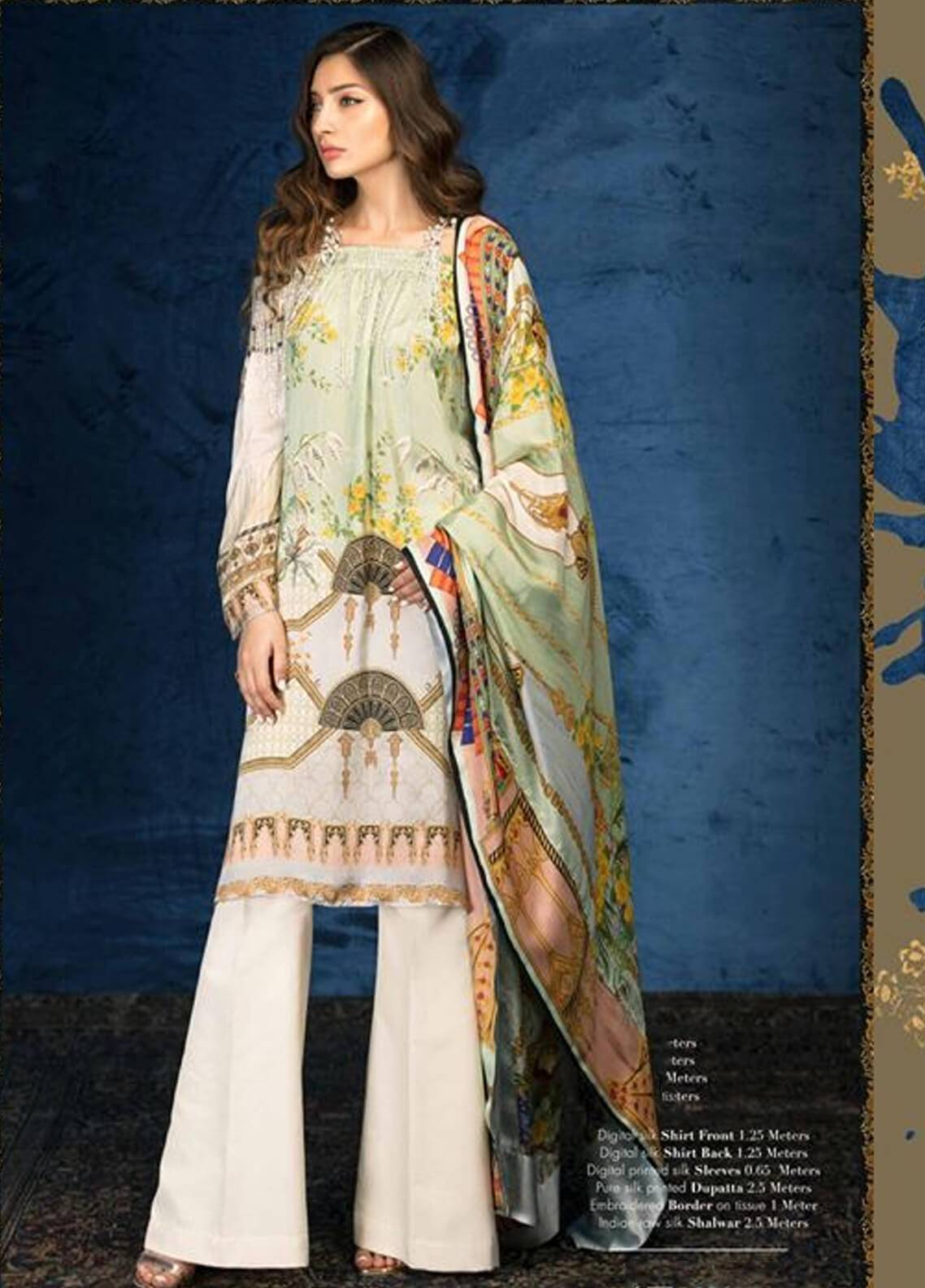 Sana Safinaz Embroidered Chiffon Unstitched 3 Piece Suit SS18C 6B - Silk Chiffon Collection