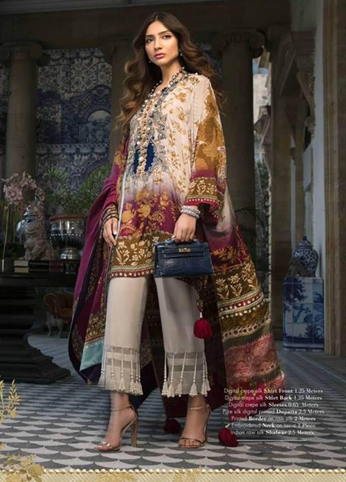 d029ea698c Sana Safinaz Embroidered Chiffon Unstitched 3 Piece Suit SS18C 7B - Silk  Chiffon Collection
