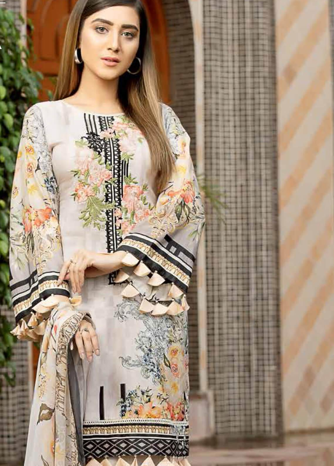 Star Embroidered Lawn Unstitched 3 Piece Suit STR19E 111A - Eid Collection